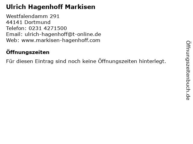 Ulrich Hagenhoff Markisen in Dortmund: Adresse und Öffnungszeiten