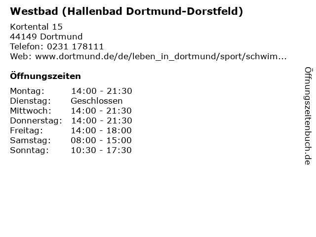 Westbad (Hallenbad Dortmund-Dorstfeld) in Dortmund: Adresse und Öffnungszeiten