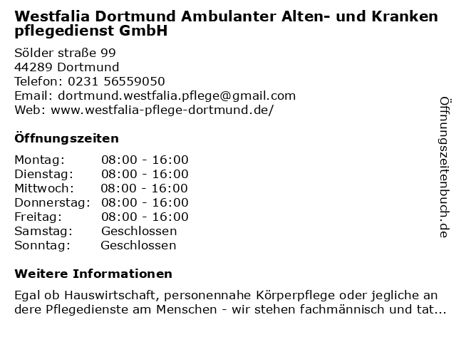 Westfalia Ambulanter Alten- und Krankenpflegedienst GmbH in Dortmund-Wambel: Adresse und Öffnungszeiten