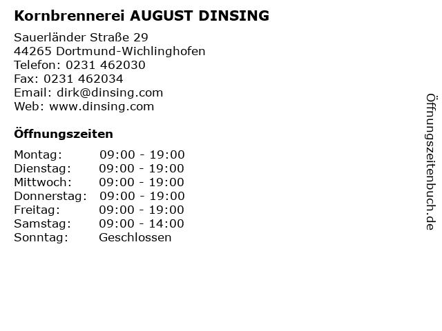 Kornbrennerei AUGUST DINSING in Dortmund-Wichlinghofen: Adresse und Öffnungszeiten