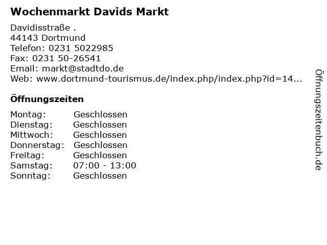 Wochenmarkt Davids Markt in Dortmund: Adresse und Öffnungszeiten