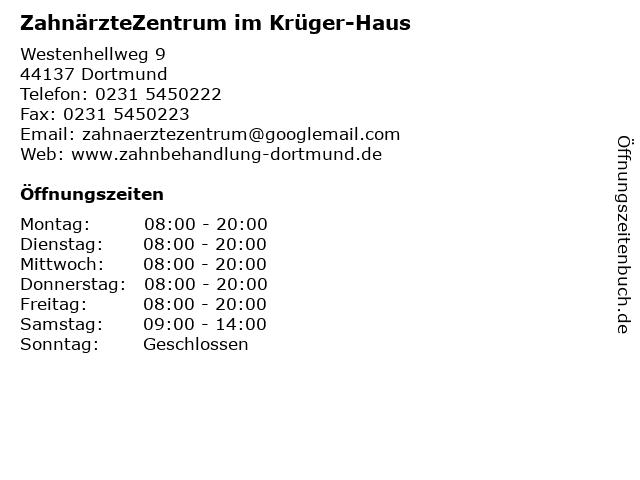 ZahnärzteZentrum im Krüger-Haus in Dortmund: Adresse und Öffnungszeiten