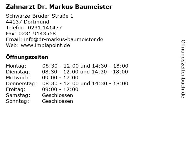 Zahnarzt Dr. Markus Baumeister in Dortmund: Adresse und Öffnungszeiten