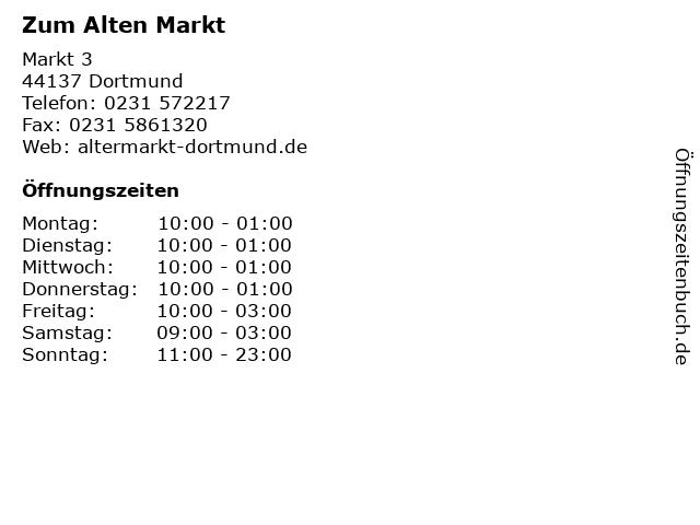 Zum Alten Markt in Dortmund: Adresse und Öffnungszeiten