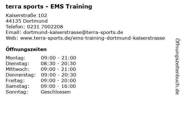 terra sports Dortmund Kaiserstraße - EMS Training in Dortmund: Adresse und Öffnungszeiten