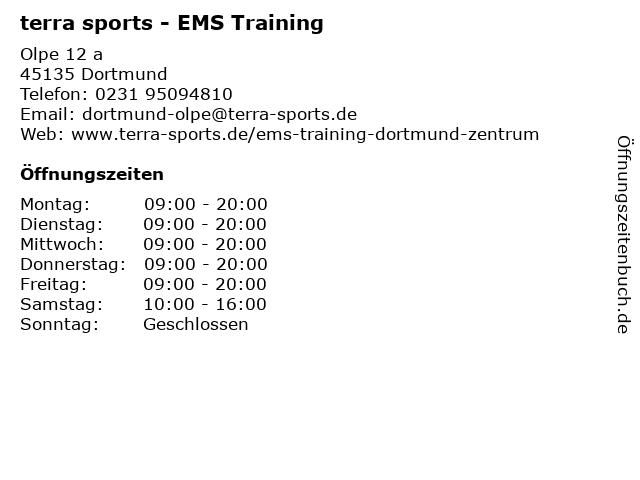 terra sports Dortmund Olpe - EMS Training in Dortmund: Adresse und Öffnungszeiten