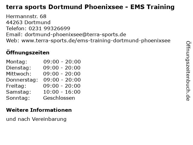 terra sports Dortmund Phoenixsee - EMS Training in Dortmund: Adresse und Öffnungszeiten