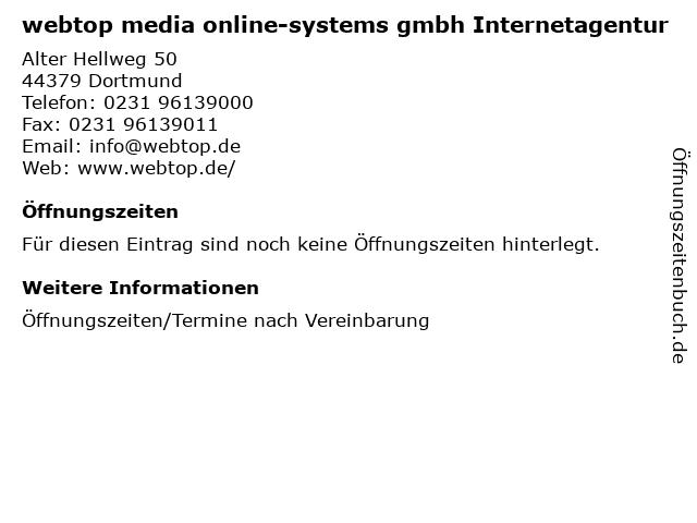 webtop media online-systems gmbh Internetagentur in Dortmund: Adresse und Öffnungszeiten