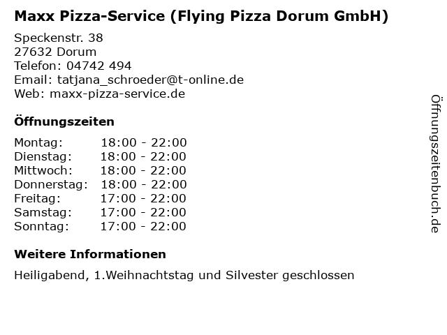 Maxx Pizza-Service (Flying Pizza Dorum GmbH) in Dorum: Adresse und Öffnungszeiten