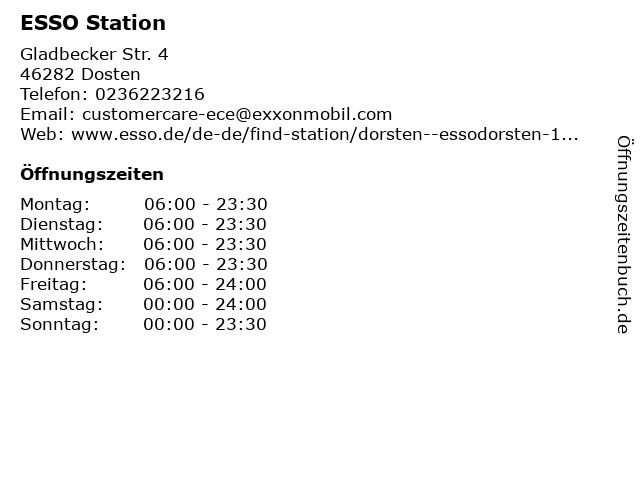 ESSO Deutschland GmbH in Dosten: Adresse und Öffnungszeiten