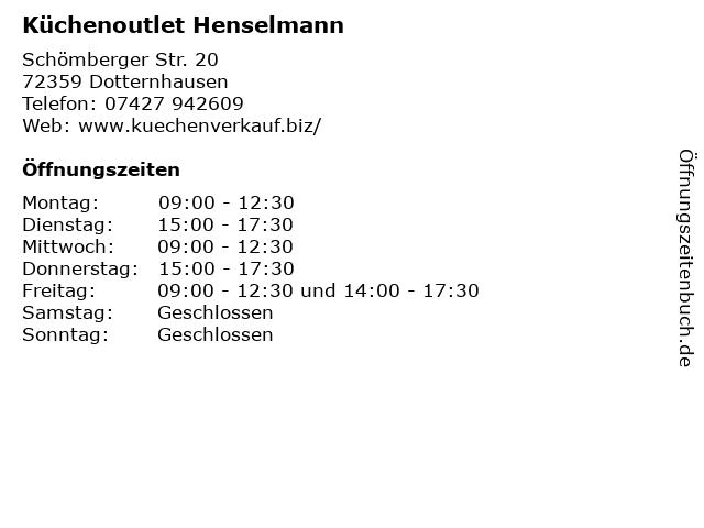 ᐅ Offnungszeiten Kuchenoutlet Henselmann Schomberger Str 20 In