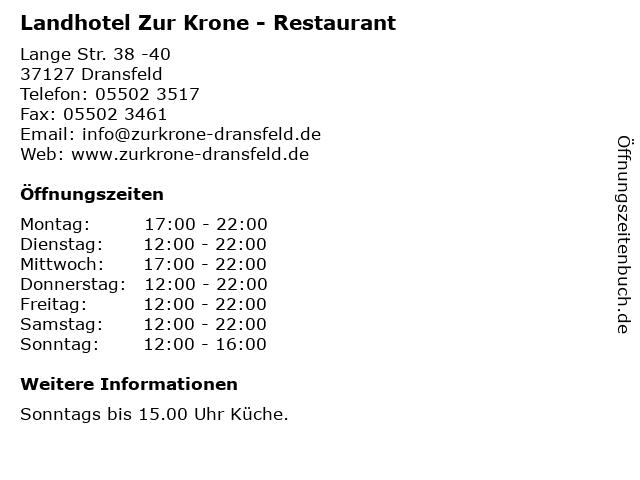 Landhotel Zur Krone - Restaurant in Dransfeld: Adresse und Öffnungszeiten