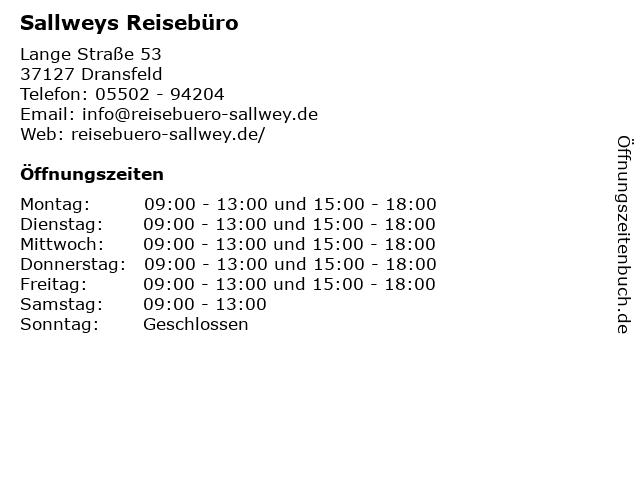 Sallweys Reisebüro in Dransfeld: Adresse und Öffnungszeiten