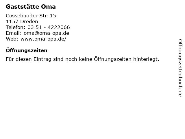 Gaststätte Oma in Dreden: Adresse und Öffnungszeiten