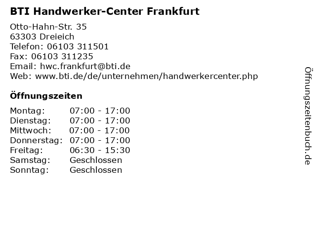 BTI Handwerker-Center Frankfurt in Dreieich: Adresse und Öffnungszeiten