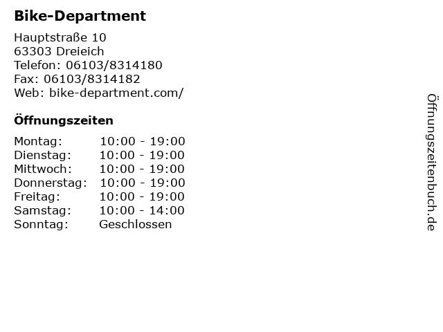 Bike-Department in Dreieich: Adresse und Öffnungszeiten