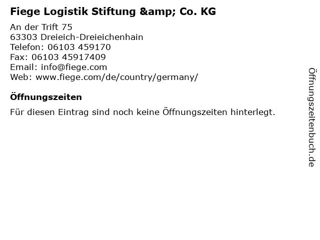 Fiege Logistik Stiftung & Co. KG in Dreieich-Dreieichenhain: Adresse und Öffnungszeiten
