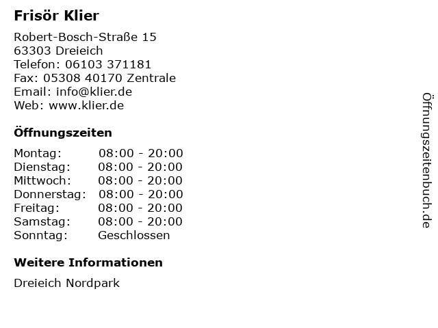 Frisör Klier GmbH in Dreieich: Adresse und Öffnungszeiten