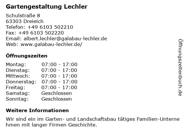 Gartengestaltung Lechler in Dreieich: Adresse und Öffnungszeiten