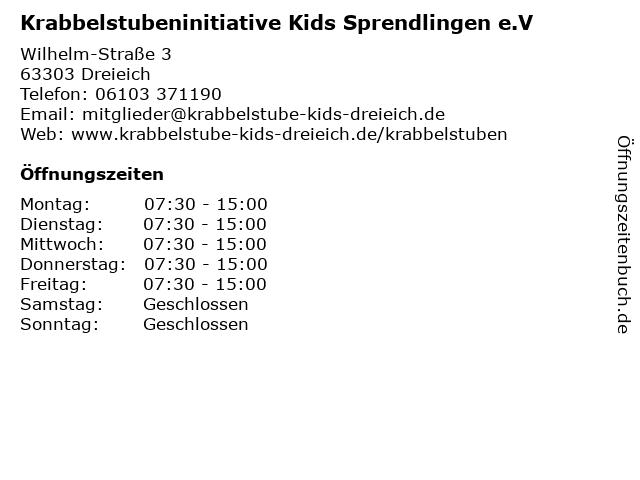 Krabbelstubeninitiative Kids Sprendlingen e.V in Dreieich: Adresse und Öffnungszeiten