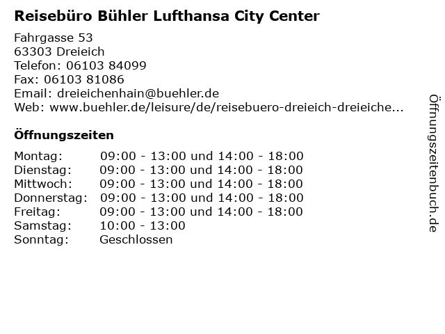 Reisebüro Bühler Lufthansa City Center in Dreieich: Adresse und Öffnungszeiten