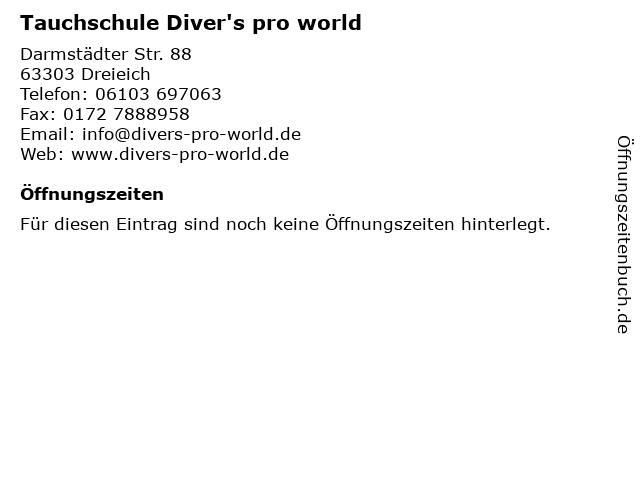 Tauchschule Diver's pro world in Dreieich: Adresse und Öffnungszeiten