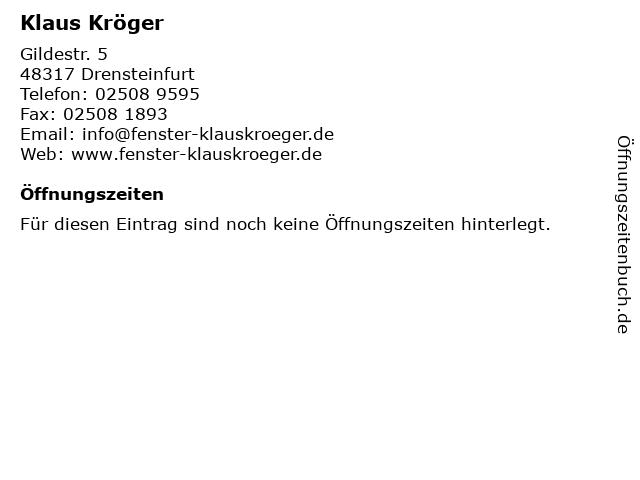 ᐅ Offnungszeiten Klaus Kroger Gildestr 5 In Drensteinfurt