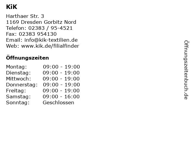 KiK Textilien & Non-Food GmbH in Dresden Gorbitz Nord: Adresse und Öffnungszeiten