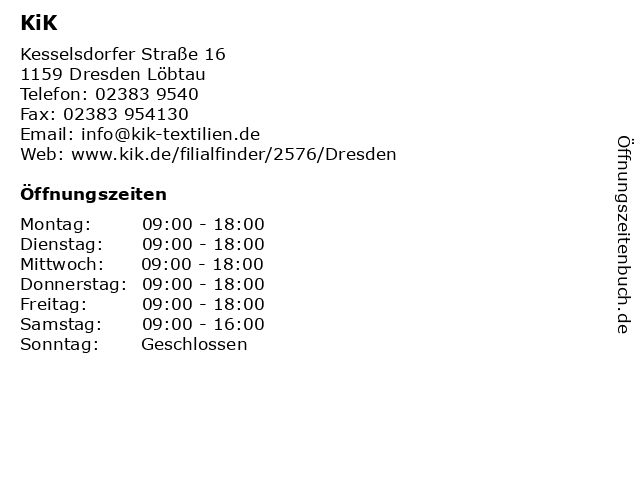 KiK Textilien & Non-Food GmbH in Dresden Löbtau: Adresse und Öffnungszeiten