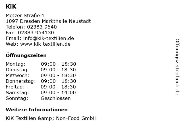 KiK Textilien & Non-Food GmbH in Dresden Markthalle Neustadt: Adresse und Öffnungszeiten