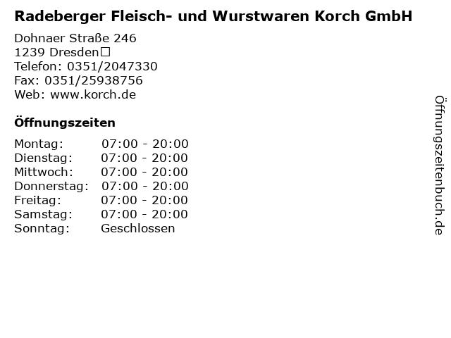 Radeberger Fleisch- und Wurstwaren Korch GmbH in Dresden: Adresse und Öffnungszeiten