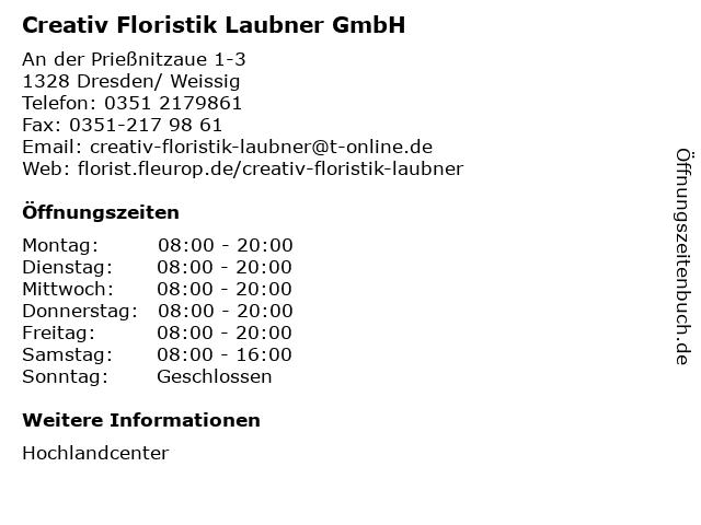 Creativ Floristik Laubner GmbH in Dresden/ Weissig: Adresse und Öffnungszeiten
