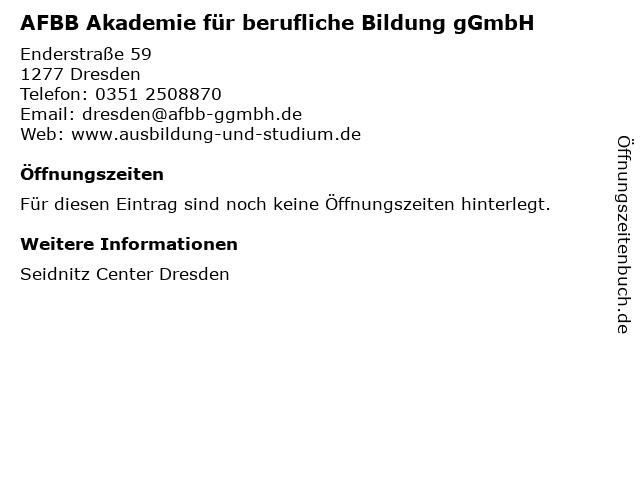 AFBB Akademie für berufliche Bildung gGmbH in Dresden: Adresse und Öffnungszeiten