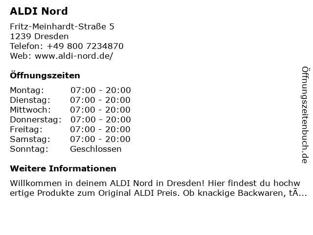 ALDI Nord in Dresden: Adresse und Öffnungszeiten