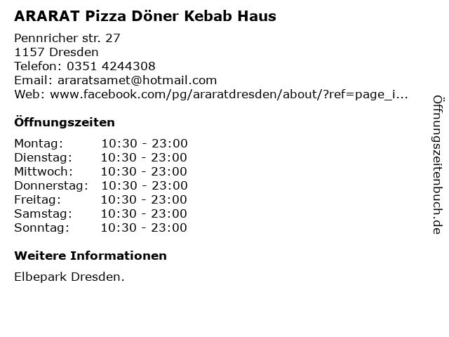 ARARAT Pizza Döner Kebab Haus in Dresden: Adresse und Öffnungszeiten
