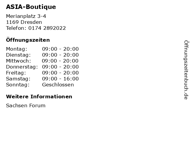 ASIA-Boutique in Dresden: Adresse und Öffnungszeiten