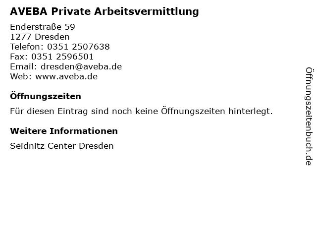 AVEBA Private Arbeitsvermittlung in Dresden: Adresse und Öffnungszeiten