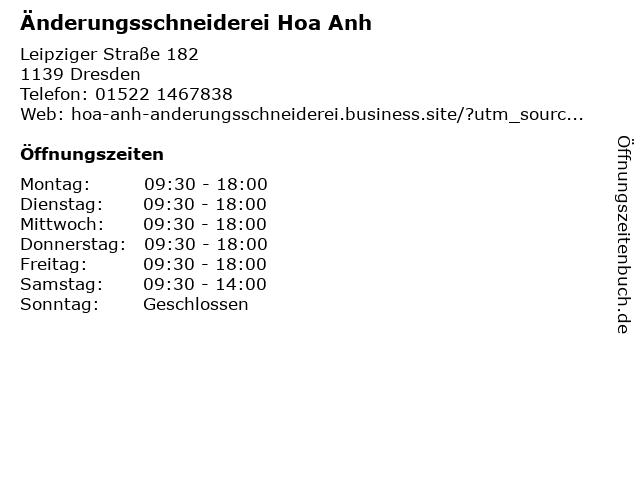 Änderungsschneiderei Hoa Anh in Dresden: Adresse und Öffnungszeiten