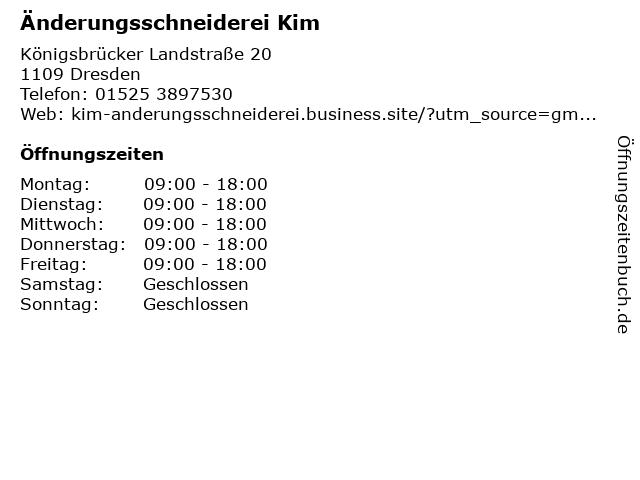 Änderungsschneiderei Kim in Dresden: Adresse und Öffnungszeiten