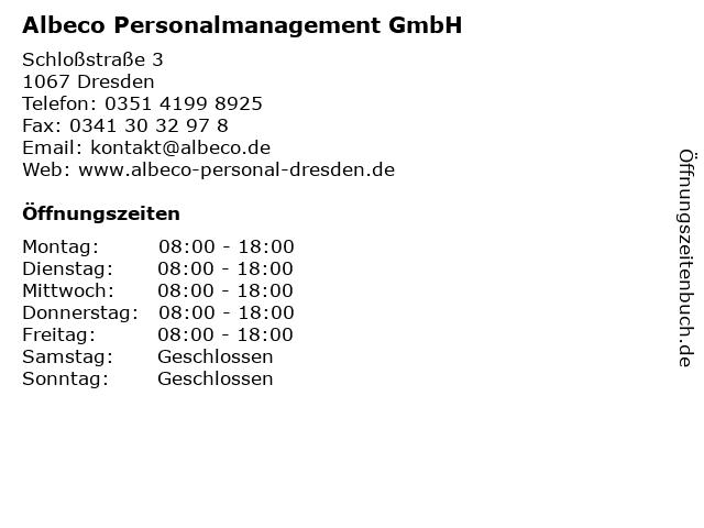 Albeco Personalmanagement GmbH in Dresden: Adresse und Öffnungszeiten