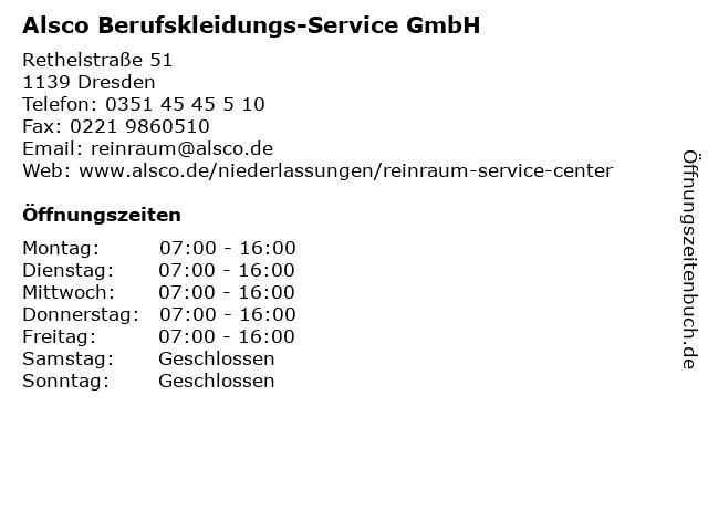 Alsco Berufskleidungs-Service GmbH in Dresden: Adresse und Öffnungszeiten