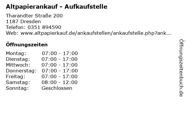 Altpapierankauf - Aufkaufstelle in Dresden: Adresse und Öffnungszeiten