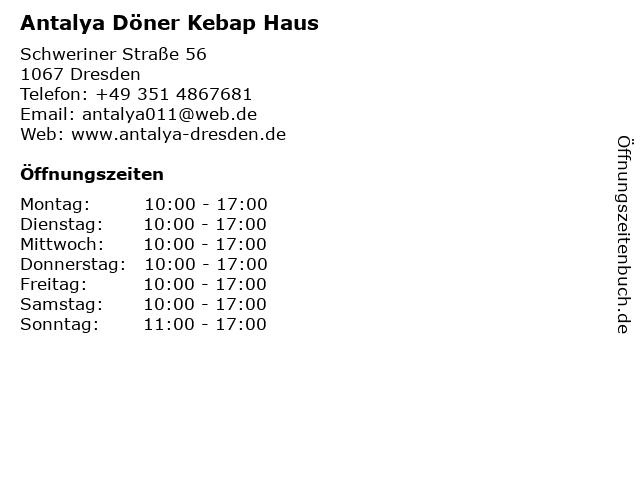 Antalya Döner Kebap Haus in Dresden: Adresse und Öffnungszeiten