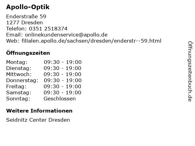 Apollo-Optik Holding GmbH & Co. KG in Dresden: Adresse und Öffnungszeiten