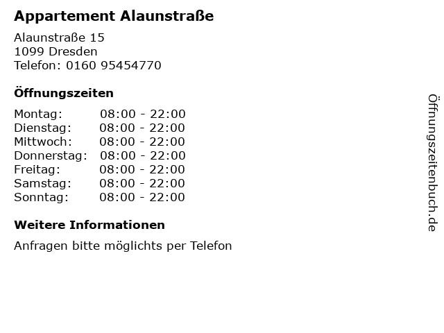 Appartement Alaunstraße in Dresden: Adresse und Öffnungszeiten