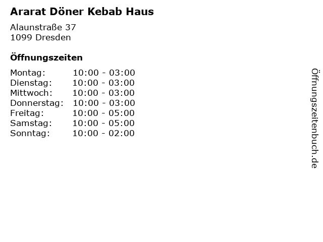 Ararat Döner Kebab Haus in Dresden: Adresse und Öffnungszeiten