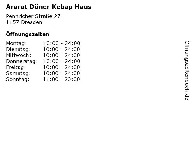 Ararat Döner Kebap Haus in Dresden: Adresse und Öffnungszeiten