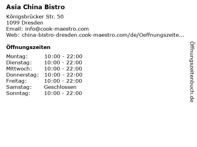 Asia China Bistro in Dresden: Adresse und Öffnungszeiten