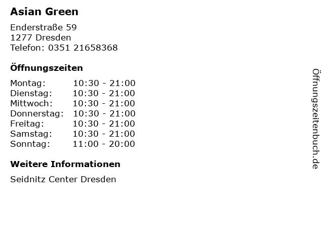 Asian Green in Dresden: Adresse und Öffnungszeiten