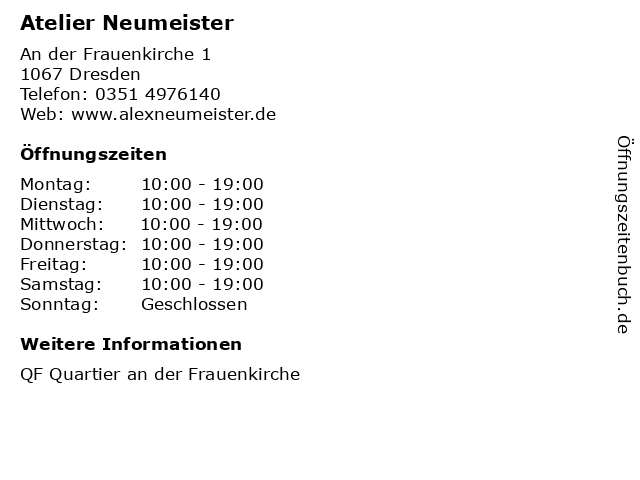 Atelier Neumeister in Dresden: Adresse und Öffnungszeiten